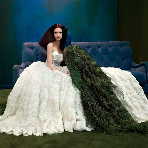 peacock wedding dress and ideas for decor everafterguide