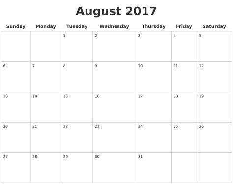 printable calendar 2017 full page blank calendar pages 2017 calendar 2017