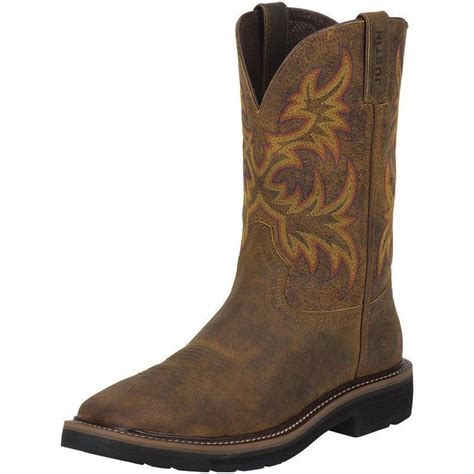 justin square toe boots for justin mens stede non steel toe work boots cowboy boots