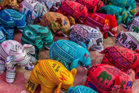 Souvenir Laos 2 souvenir fabric elephants at a market in luang