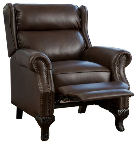 Curtis Dark Brown Leather Recliner Club Chair   Traditional   Recliner Chairs   by GDFStudio