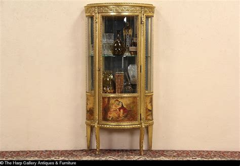 Curved Glass Curio Cabinet Sold Gold Leaf 1915 Antique Curved Glass Curio Display