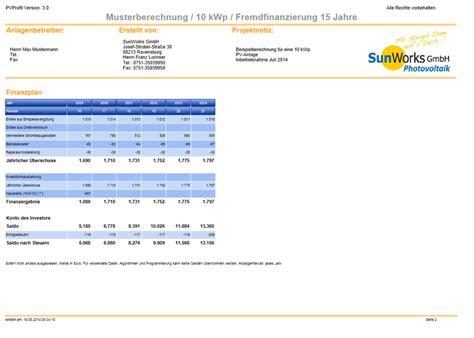 Muster Angebot Photovoltaikanlage Solartechnik Sunworks Gmbh Ravensburg