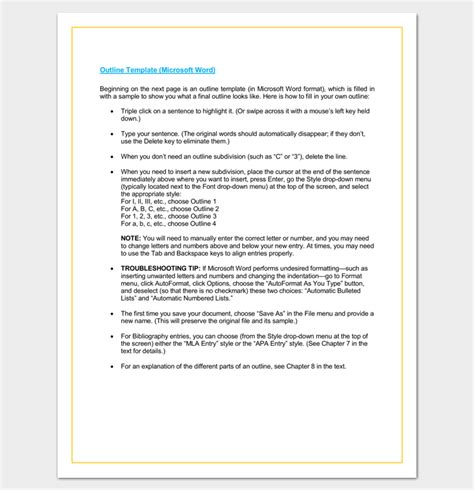 formal outline template formal outline template 10 formats and exles dotxes