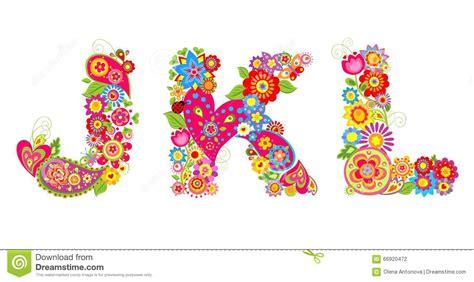 Floral J floral alphabet with letter j k l stock vector image