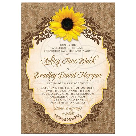 Sunflower Wedding Invitations by Sunflower Wedding Invitation Rustic Burlap And Lace Floral