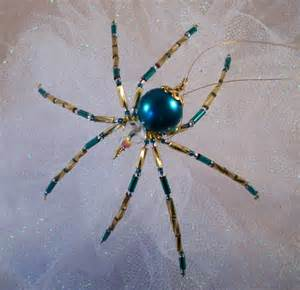 teal glass beaded christmas spider ornament