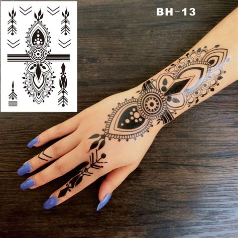 henna tattoos locations aliexpress buy bh 13 funky black boho style henna