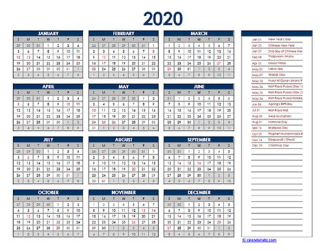 malaysia yearly excel calendar  printable templates