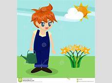 Cute Cartoon Boy In Garden Royalty Free Stock Photo ... House With Garden Clipart