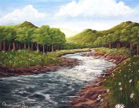 river landscaping length acrylic painting lesson mountain meadow river landscape