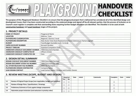 playground handover checklist play australia