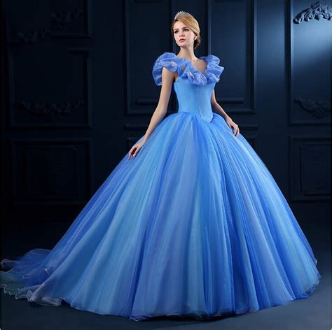 Classic New Ball Gown Cinderella Quinceanera Dresses Blue Tulle Sweet 16 Dresses Butterfly Cap