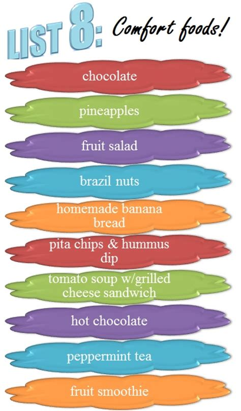 List 8 Comfort Foods 30lists Print Pinterest