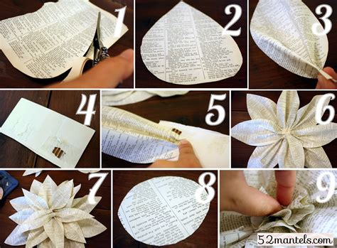 Paper Flower Books - 52 mantels paper flowers tutorial