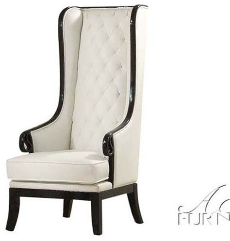 High Back Wing Armchairs by Acme Furniture Parr Black White High Back Accent Wing