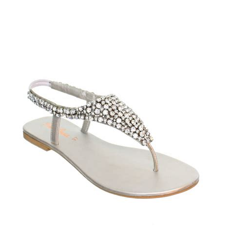 sparkly flat sandals womens flat diamante sparkly toe post silver wedding