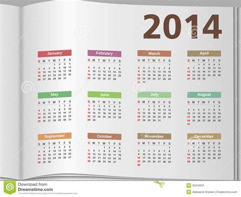 Open Calendar 2014 Calendar Stock Image Image 33416931