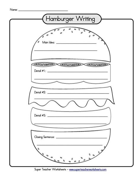 burger writing template hamburger graphic organizer writing paragraph links to a