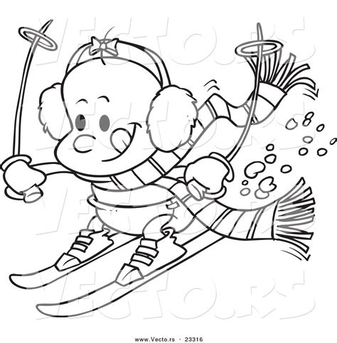 winter coloring book for adults grayscale line coloring book books vector of baby skiing coloring page