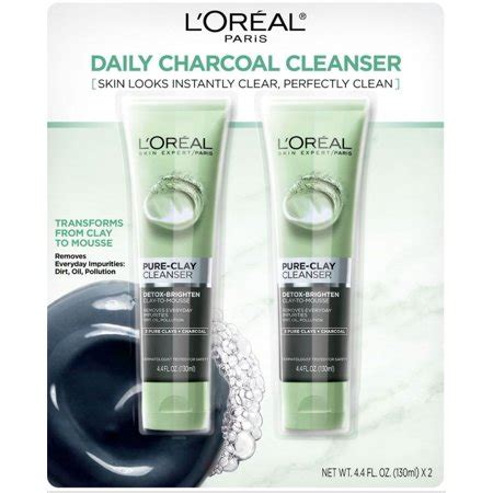 detoxify and brighten charcoal cleanser for dull skin l or 233 al loreal clay cleanser detox brighten charcoal 4 4 oz each walmart