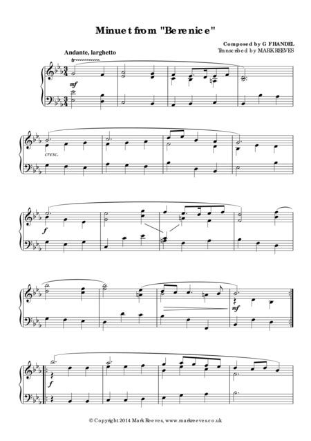 Download Minuet From Berenice Sheet Music By G F Handel