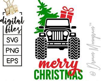 christmas jeep silhouette jeep christmas tree etsy