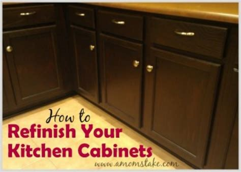 how to refinish stained wood kitchen cabinets diy decorating add yours tip junkie