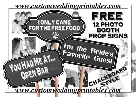 printable photo booth prop signs free wedding photo booth sign props 12 signs chalkboard