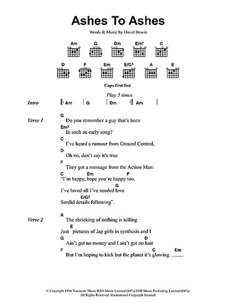 s day lyrics david bowie meaning ashes to ashes sheet by david bowie lyrics chords