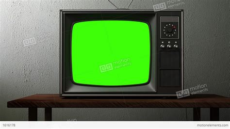 green tv old tv with a green screen stock animation 1616178