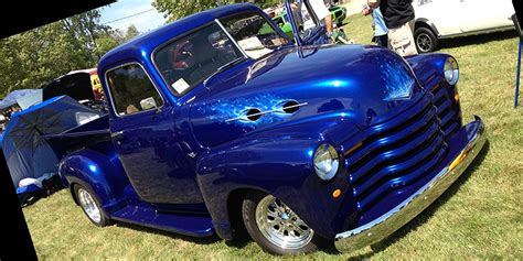 cobalt blue chevy truck with real
