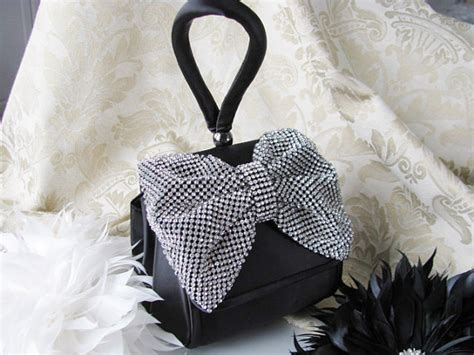 Silk Bow Evening Bag By Anusha by Prom Time Black Satin Fabric Wedding Bag Clutch Formal Evening