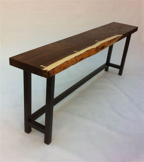 Rustic Hallway Table Live Edge Walnut Slab Table Contemporary Console In Solid Rustic Walnut On Metal