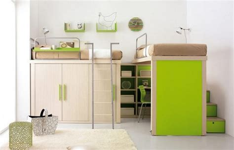 Bed And Desk For Small Room Smart Bedroom With Two Loft Bed Brownbed Cover Small Cabinet And Desk With Green