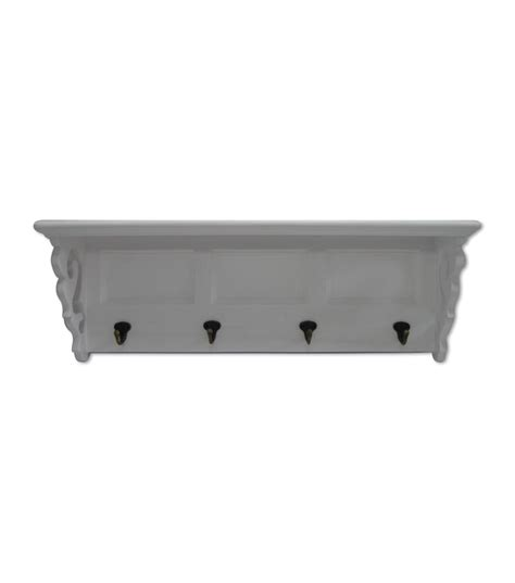White Hook Shelf by White Wood Shelf With Hooks At Joann