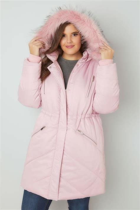 Hodie Parka Pink Ik 1 pink padded parka jacket with faux fur plus size 16 to 36