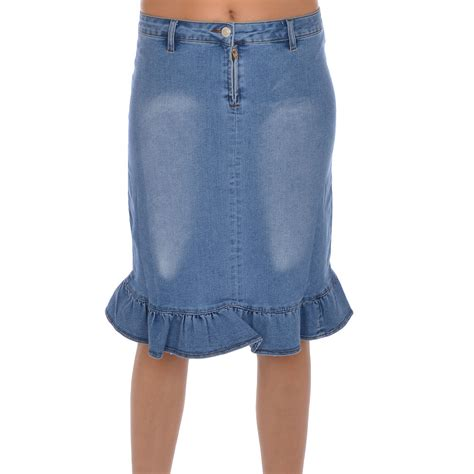 miss posh womens stretch denim jean pencil frill skirt