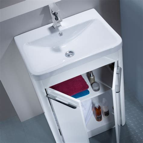 Bathroom Vanity Single Contour 600 Freestanding Unit White R2 Bathrooms