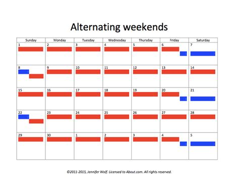 Weekend Only Calendar Template creative options for child visitation schedules