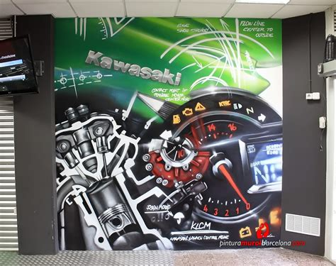 mural graffiti kawasaki motorbike pintura mural