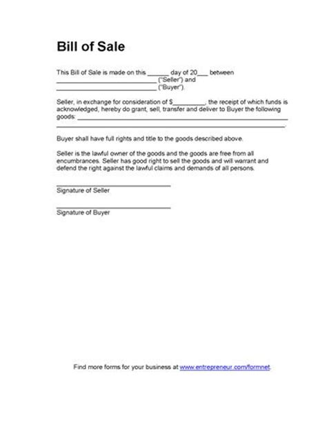 printable sle bill of sales template form online