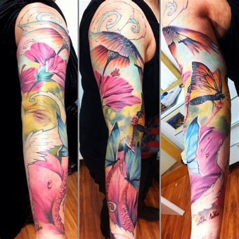 watercolor tattoo sleeves watercolor sleeve car interior design