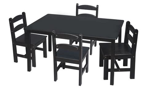 Black Table And Chairs Set by Black Toddler Table And Chair Set For 4 Decofurnish