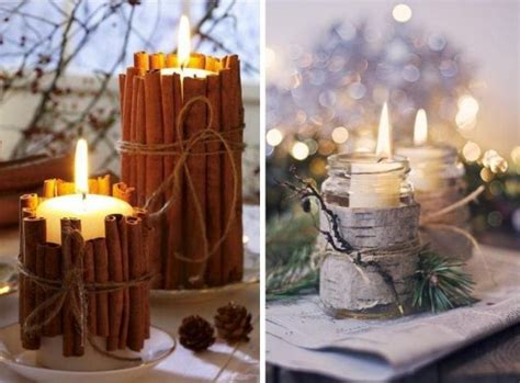 Weihnachten Dinner Deko Ideen by Tisch Stumpen Kerzen Halter Zimtstangen Baumrinde Ideen