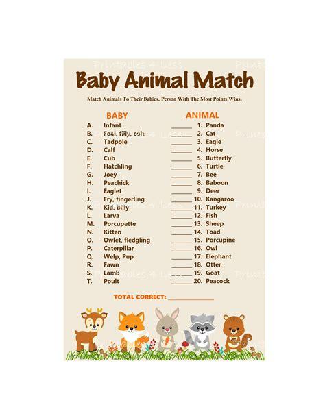 printable baby animal game woodland baby animal match baby animals name game printable