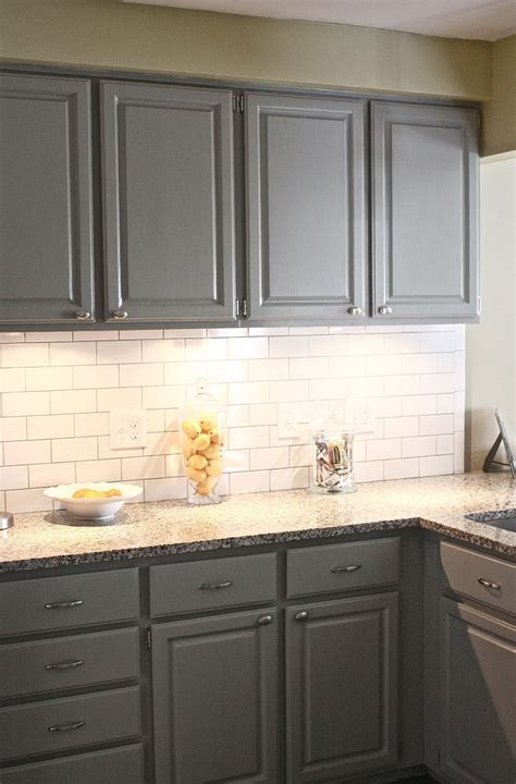 Tiled Kitchen Backsplash by Grey Subway Tile Backsplash Kitchen Home Design Ideas