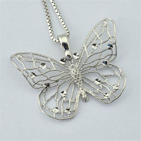 silver matt butterfly pendant with marcasite in longer