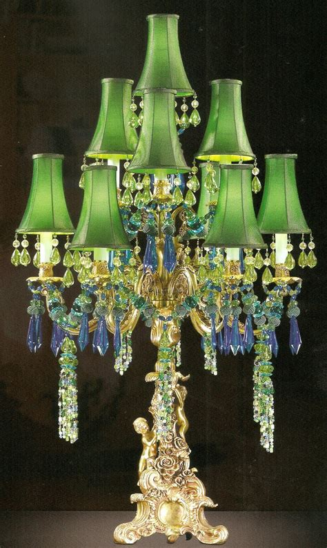 Candelabra Chandelier Unique Bronze Brass Figural 7 Light Candelabra Table Lamp
