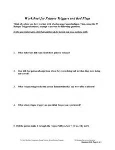 Relapse Prevention Worksheet by Free Worksheets For Recovery Relapse Prevention Addiction